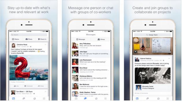 L'app per smartphone di Fcebook at work.