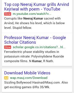 Screenshot della slow label rossa nella SERP da mobile