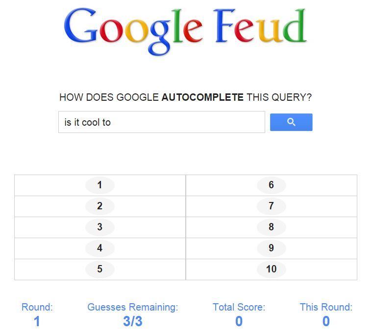 Il funzionamento di Google Feud, uno die più simpatici giochi online di questo periodo