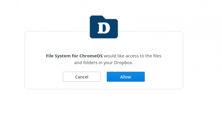 Screenshot dell'integrazione di Dropbox con Chrome OS