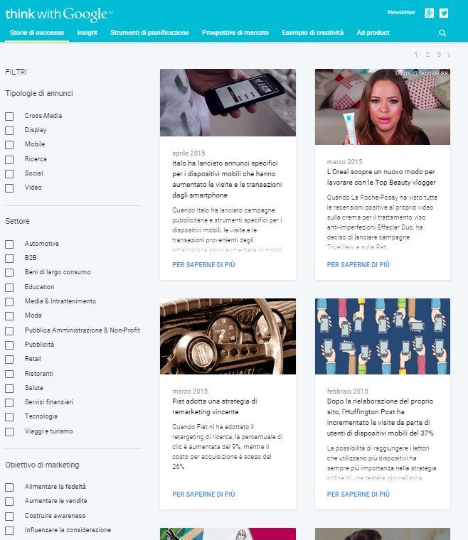 Uno screenshot del sito Think with Google Italia con i filtri di ricerca