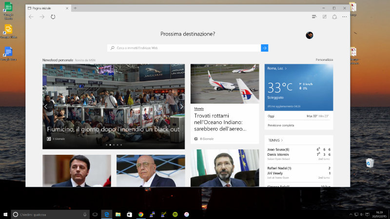 Screenshot del browser Edge di Microsoft Windows 10