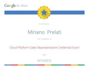 Attestato Google Cloud Platform Salkes Representative Credential