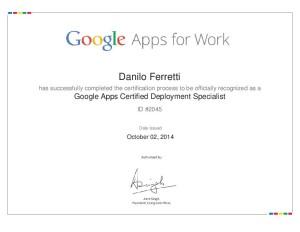 Attestato Google Apps Deployment Specialist - Danilo Ferretti