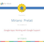 Attestato Google Apps Working with Google Support