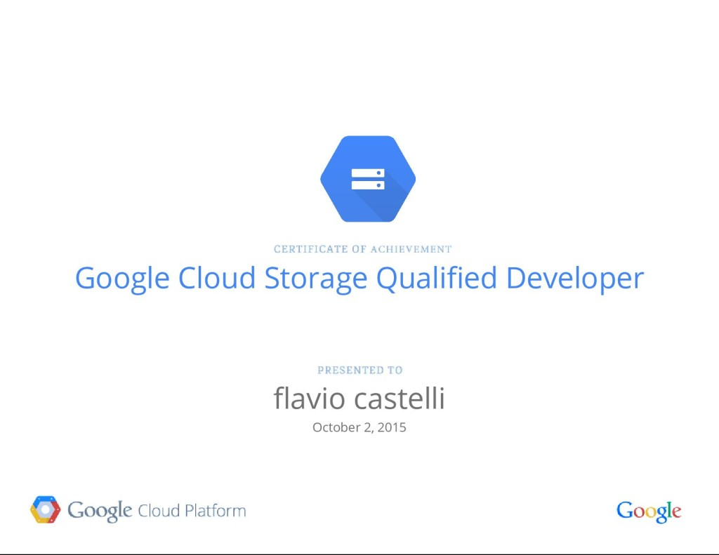 Certificazione Google Cloud Storage Developer